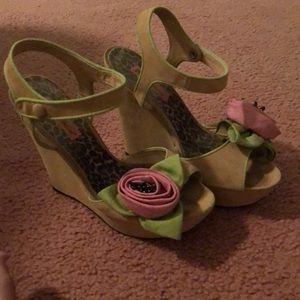 Betsey Johnson wedges with rose